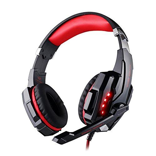 OFT G9000 Gaming Stereo Headset PC LED Light Game Kopfhörer mit USB-Stecker und Mikrofon für PS4 PC Laptop Skype Gamer (schwarz+rot)