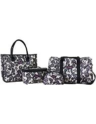 Jacki Design 4 Piece Travel Bag, Tote Bag And Cosmetic Bag Set,Travel Bags,Beige,ABX15036