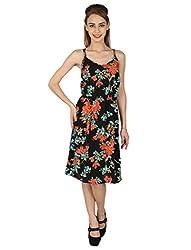 Aussehen Women's Crepe Floral Dress (AU 9010_L_Multicoloured)