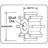 Jabsco 6303-0007-P, Urethane, Drive Type 4, 6 Blade, 2 Diameter, 7/8 Width, 5/16 Shaft, Plastic Insert