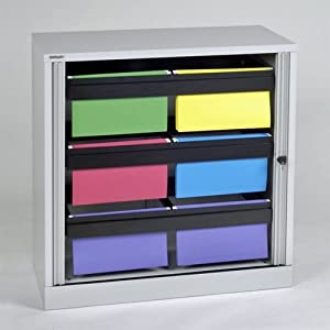 Tambour Door Hanging File Folder Cabinet Black Paint Office Products