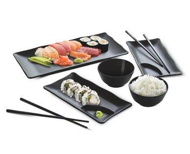 Asian Sushi Serving Set Black 7 Piece 100 Melamine BPA Free Crofton