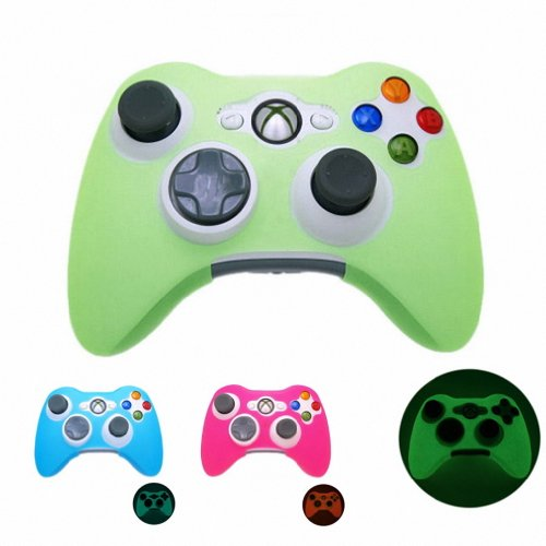 GREEN GLOW in DARK Xbox 360 Game Controller Silicone Case Skin Protector Cover (Many Colors Available)