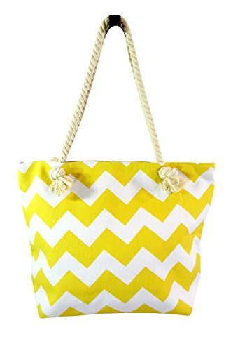 Summer Love Zig Zag Chevron Cotton Canvas Tote