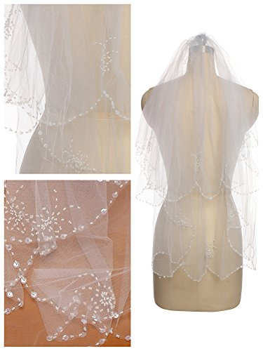 Passat Ivory 2 Tier Short Rhinestone Wedding Veil Bridal Veil with Crystals 14