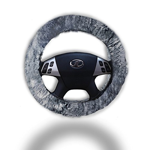 Zento Deals Soft Stretchable Sheepskin Grey Steering Wheel Cover Protector - A Must Have for All Car Owners for a More Comfortable Driving (15 Spinners Wheel Covers compare prices)