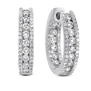 14k 2.01 Dwt Diamond White Gold Earrings - JewelryWeb