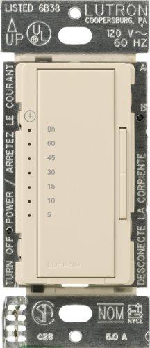 Lutron MA-T51MN-LA Maestro 600-Watt 3-Amp Multi-Location Digital Countdown Timer Control Switch, Light Almond (Electronic Fan Timer compare prices)