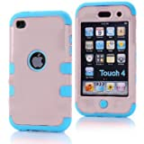 ZAFOORAH� Case Cover for Apple iPod Touch 4 4th Generation Multiple designs +Free Stylus+Screen Protector+Microfiber Cloth (Shock Proof Double Clip - 3 Layers - LIGHT PINK/LIGHT BLUE)