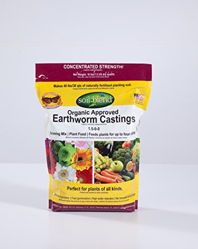 Concentrated Strength-Makes 40 Lbs. Certified Organic/VEGAN/Non-GMO/Sustainable Earthworm Castings. High Microbial activity. High in Calcium & Iron. Master Gardeners Choice. (Worms Casting compare prices)
