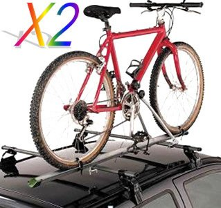 2 X Aluminum Upright Car Rooftop Folding Bicycle Rack Carrier Suv (For 2 Bikes) front-184034