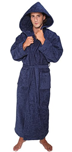 arus men 39 s hood 39 n full ankle length hooded turkish cotton bathrobe m navy marine apparel. Black Bedroom Furniture Sets. Home Design Ideas