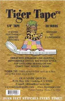 """Tiger Tape 1/4"""" (.25 inch) guide for evenly spaced stitches 9 lines per inch"""