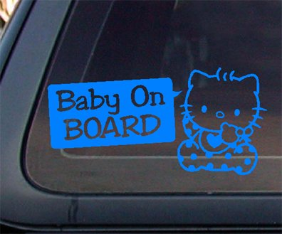 Hello Kitty Baby On Board Car Decal /Sticker - BABY BLUE