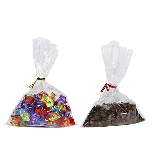 200 6x8'' Clear Flat Cello / Cellophane Treat Bags Good for Bakery, Candle, Soap, Cookie - 1.2 Mil Thick -200 4'' Gold and Red Colored Twist Ties by Home Kitty