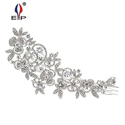 Sparkly Long Flower Hair Comb Rhinestone Hairpins Bridal Wedding Hair Accessories Jewelry Austrian Crystals Hair Clips FA5027 (Clear)