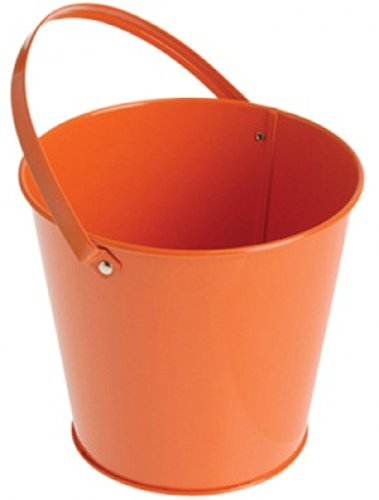 "US Toy 204308 5.25""L x 5.25""W x 4.75""H Metal Bucket with Handle - Orange"
