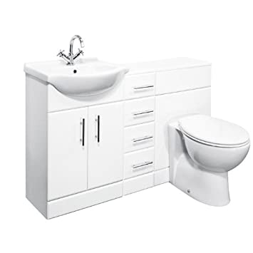 650mm White Gloss Vanity, 600mm WC and 4 Drawer Unit