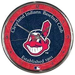 Cleveland Indians Round Chrome Wall Clock by Hall of Fame Memorabilia