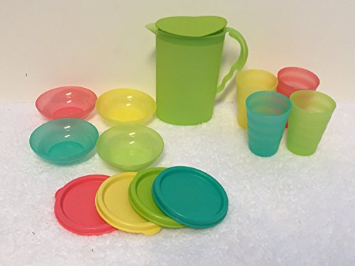 Tupperware Kids Impressions Mini Serving Set Pitcher, Tumblers, Bowls (Mini Plastic Pitcher compare prices)