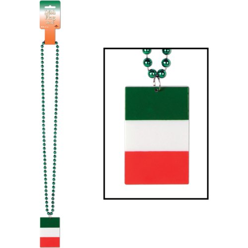Beistle 57275 Beads with Printed Irish Flag Medallion, 36-Inch - 1
