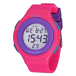 TIME100 Multifunction LCD Round Dial Red Silicone Strap Outdoor Sports Digital Watch #W40109M.02A