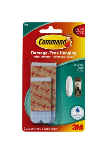 Command Water-Resistant Replacement Strips, 2-Medium, 4-Large back-82658