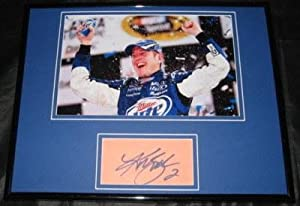 Kurt Busch Signed Picture - MILLER LITE FRAMED 11x14 JSA - Autographed NASCAR Photos by Sports Memorabilia