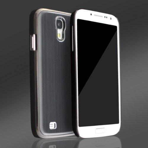 Samsung I9505 Galaxy S4 Case Aluminium Cover Bumper Schutz Hülle Displayschutzfolie Schwarz black Alu