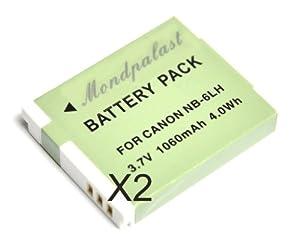Mondpalast ® Remplacement Batterie x 2 Li-ion type NB-6LH NB6LH 1060mAh pour Canon SX500 IS SX510 HS SX510HS SD1300