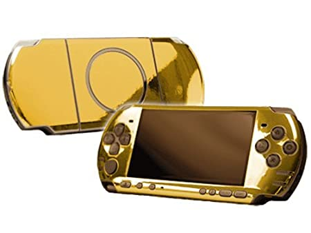 PlayStation Portable 3000 (PSP-3000) Skin - NEW - GOLD CHROME MIRROR system skins faceplate decal mod