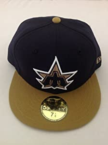 NEW ERA RARE CUSTOM CAP HAT SEATLE MARINERS COOPERS TOWN GOLD/NAVY (7 5/8)