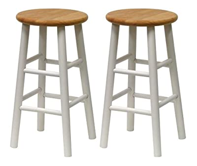 Winsome Wood S/2 Beveled Seat 24-Inch Counter Stools, Nat/Wht