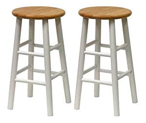 Winsome Wood S 2 Beveled Seat 24-Inch Counter Stools, Nat Wht by Winsome