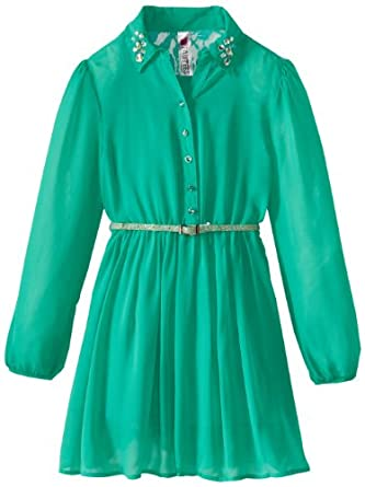 Beautees Big Girls' Long Sleeve Shirt Dress with Lace Shoulders, Emerald, X-Large