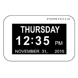 Pointells Extra-Large Digital Calendar Day Clock with Non-Abbreviated Day, Month & Date - Ideal Clock for the Elderly & Those Struggling with Memory Loss