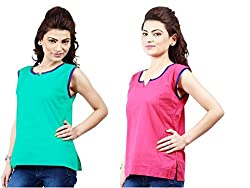 Ambitione Turquoise-Pink Colored Kurti_L