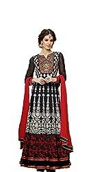 Pavani Women's Georgette Semi Stitched Dress Material (D1400006_Black_Free Size)