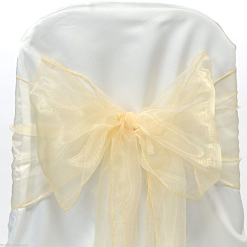 MDS 10 Organza Chair Cover Bow Sash Wedding Banquet Decor -champion gold