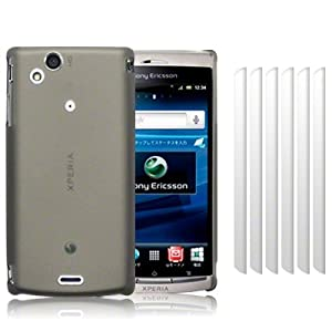 SONY ERICSSON XPERIA ARC X12 / XPERIA ARC S BLACK RUBBERISED HYBRID HARD BACK COVER CASE / SHELL / SHIELD, WITH 6 IN 1 SCREEN PROTECTOR PACK PART OF THE QUBITS ACCESSORIES RANGE