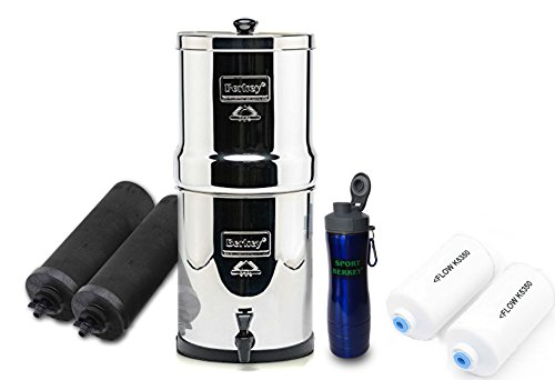 Premium Travel Berkey Water Filtration System 1.5 Gallon-BT4X2-BB w/4 Filters - 2 Black Carbon, 2 Fluoride PF2 Filters bundled w/Berkey Stainless Steel Waterbottle (Used Berkey Water Filter compare prices)