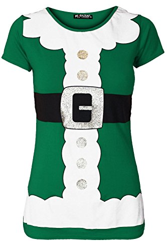 [Womens Ladies Christmas Santa Claus Father Suit Belted Costume Print T Shirt Top] (Glitter Beard Costume)