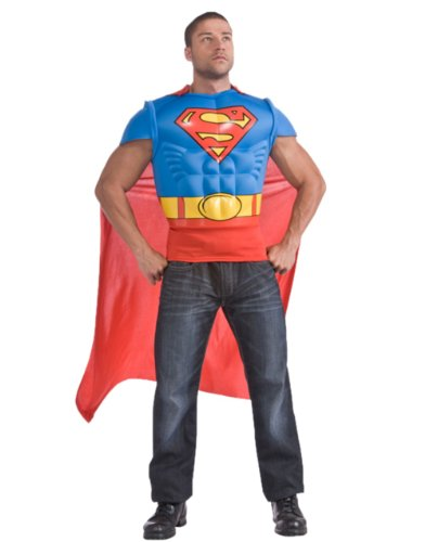 Adults Superman Muscle Chest Costume T-shirt And Cape Set Size Large 42-44