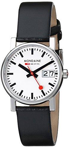 Mondaine A669.30305.11SBB - Reloj de mujer de cuarzo, correa de piel color negro