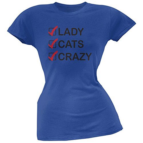 Crazy Cat Lady With Glasses Blue Soft Juniors T-Shirt - Small