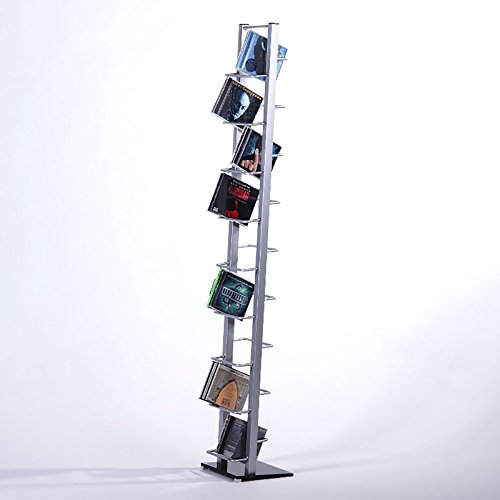 DESIGN-CD-STNDER-CD-REGAL-LOUNGE-TOWER-138cm-aus-Alu-mit-Glas-fr-126CDs-Metall-Rack-silber