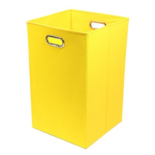 Modern Littles Folding Laundry Basket with Handles - High-Strength Polymer Construction - Folds for Easy Storage and Transportation - 13.75 Inches x 13.75 Inches x 22.75 Inches - Yellow