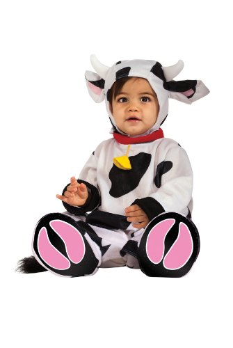 Rubie's Costume Cuddly Jungle Mr. Moo Cow Romper Costume, White/Black, 12-18 Months