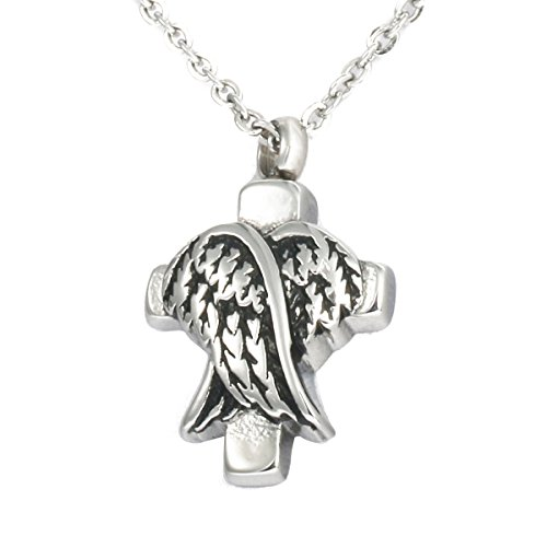 Stainless Steel Angel Wing Cross Charm Urn Pendant
