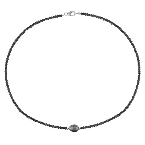 Sterling Silver 35 CT TGW Black Spinel Tahitian Black Pearl Necklace